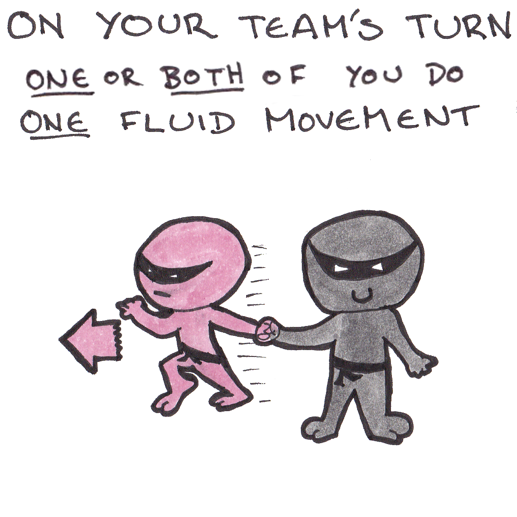 On your turn, one of you does one fluid movement
