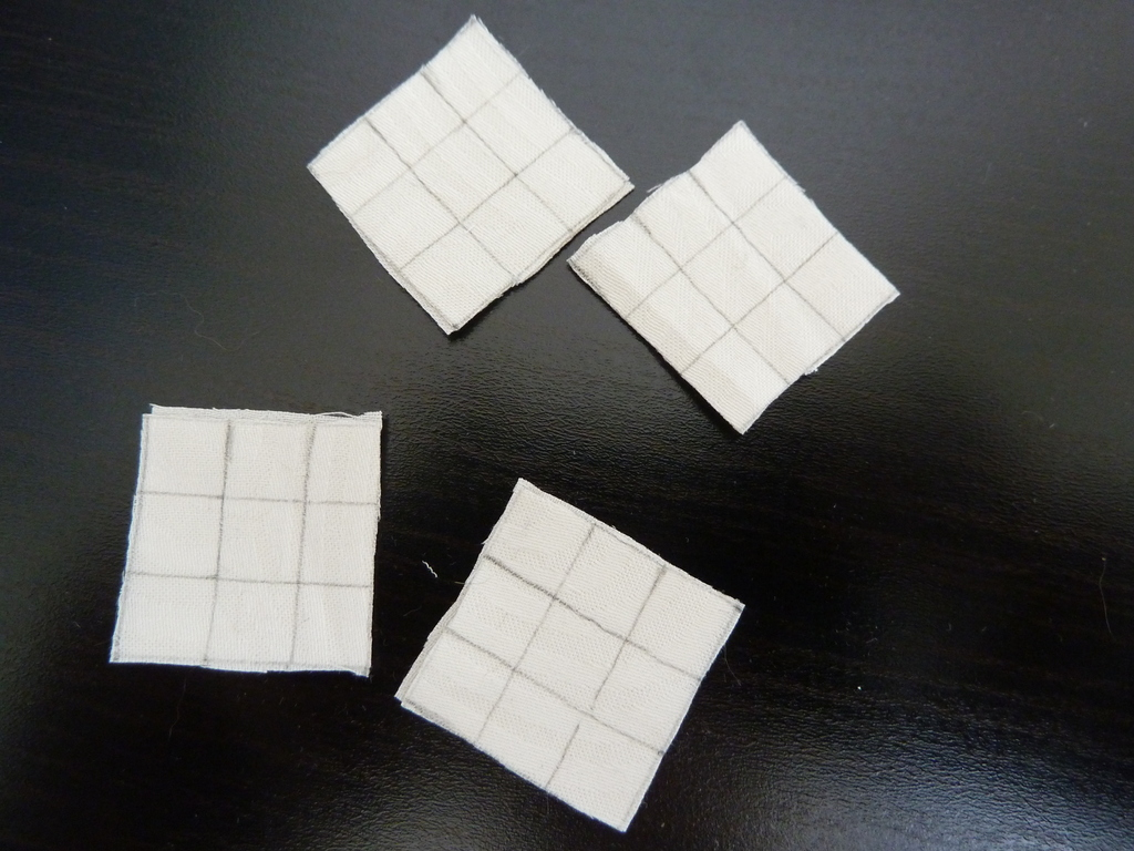 White squares ready to be cut up