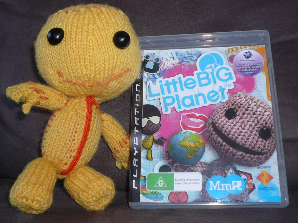 A knitted Sackboy from Little Big Planet