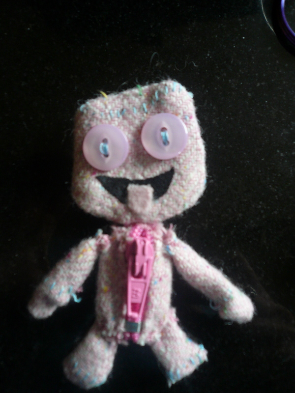 Sackgirl from Little Big Planet as a brooch