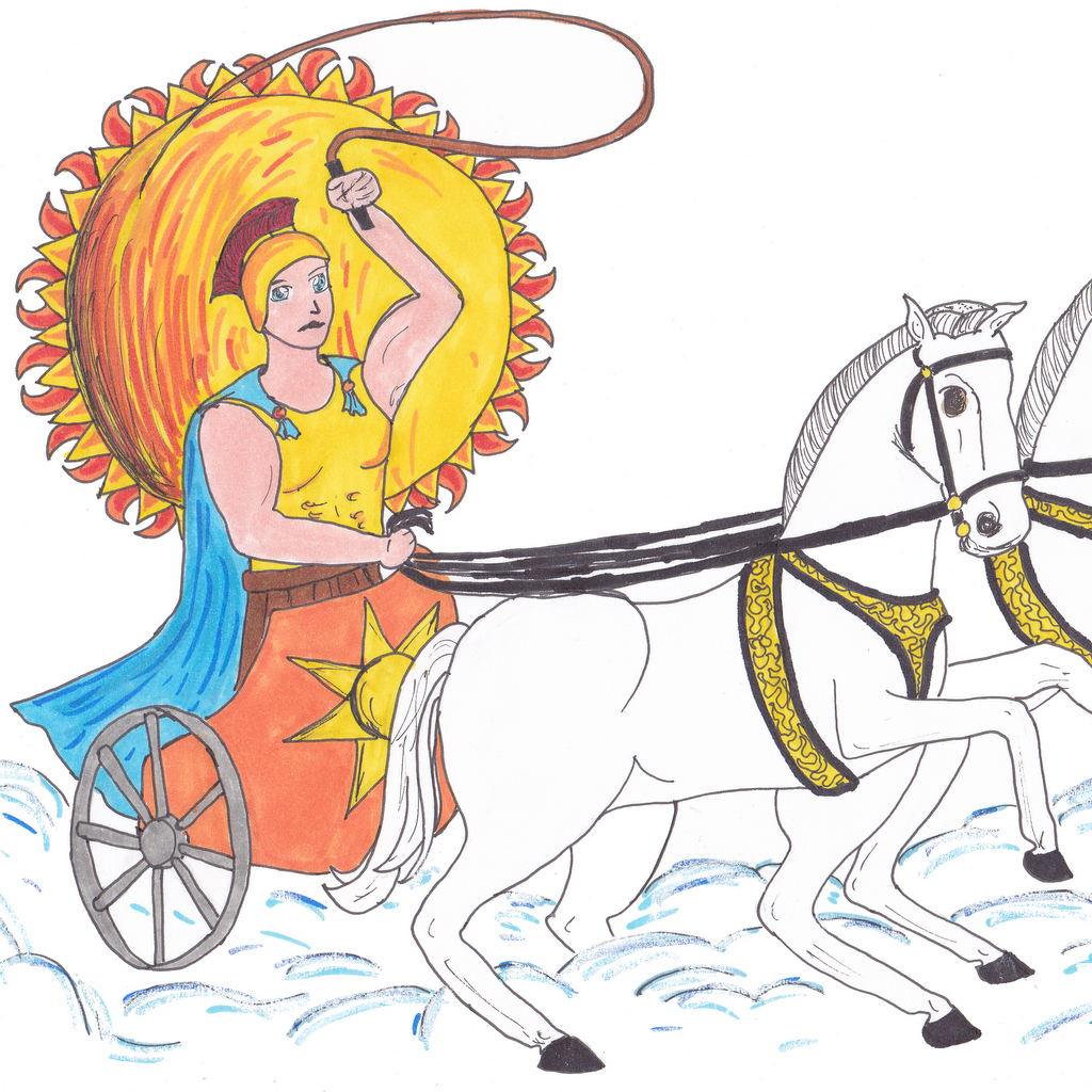 The Greek god on his sun chariot